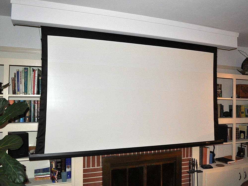 For Our Next Living Room Roll Up Screen In From Of Book Shelves Projector SPACE SAVER